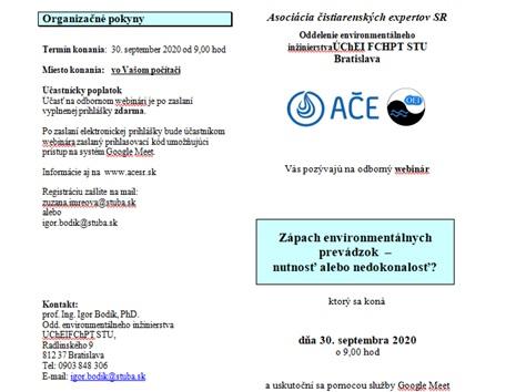 """Odborný seminár AQUA 2020 """"Zápach environmentálnych prevádzok - nutnosť alebo nedokonalosť? """" - PREDNÁŠKY Z WEBINÁRA K DISPOZÍCII"""