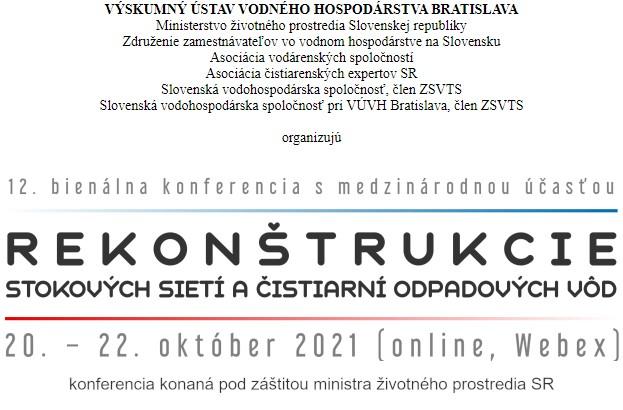 """12. bienálna konferencia """"Rekonštrukcie stokových sietí a ČOV"""""""